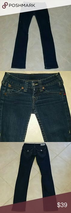 Women's True Religion Billy 25x33 *Mint* Skinny 25x33, Mint, Billy, MSRP $310, Dark Wash, ?????, Slim Skinnies, Only Qualm: Front button reinforcement eventually needed ($2 fix at tailor) because 1st owner squeezed in a few times - down the road....not for a while. Made in USA. True Religion Jeans Skinny