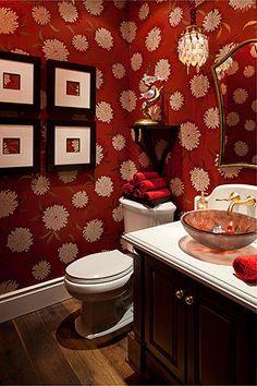 Playful Powder Room. Love the wallpaper, floor, sink, and baby chandelier.