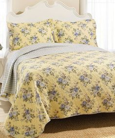 Love this Yellow Linley Quilt & Sham by Laura Ashley Home on #zulily! #zulilyfinds