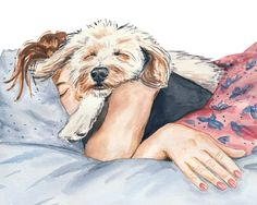 8x10 Dog Watercolor PRINT - Girl and Her Dog, Afternoon Nap, Poodle Mix Dog, Sleep, Home Decor