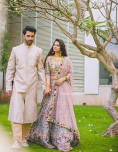 A blush colored sherwani with delicate thread work by Manish Malhotra at WeddingSutra Bridal Diaries. Couple Wedding Dress, Indian Wedding Couple, Wedding Couples, Wedding Outfits, Wedding Shoot, Engagement Dresses, Indian Bridal Wear, Groom Outfit, Bridal Lehenga
