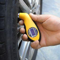 2016新しいデジタルlcd車のタイヤタイヤ空気圧ゲージメーター圧力計計テスターツール用オートカーオートバイモーター