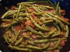 What I'm Cooking Now: Lubiyeh (Lebanese String Beans with Tomato and Olive Oil)