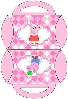 Peppa Pig and Family: Free Printable Pillow Box.