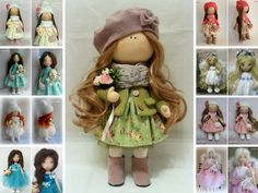 Tilda doll Handmade doll Fabric doll Green doll Nursery doll Collectable doll Soft doll Cloth doll Baby doll Rag doll Interior doll by Irina __________________________________________________________________________________________  Hello, dear visitors!  This is handmade cloth doll created by Master Irina E (Kiev, Ukraine). All dolls stated on the photo are mady by artist Irina. You can find them in our shop searching by artist name: https://www.etsy.com/shop/AnnKirillart...