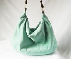 Mint Green Hobo - Vegan ultra suede slouch bag - Handmade handbag. $49.00, via Etsy.