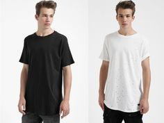 SMTHN released two new distressed round long t-shirts, available in a black and white colorway ...