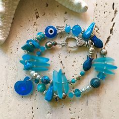 Aqua - Light blue & silver bracelet