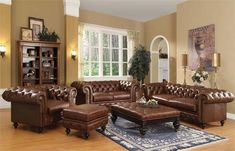 Living Room Idea with Leather Furniture Beautiful 21 Living Room Tufted Leather sofa Designs Tufted Leather Sofa, Genuine Leather Sofa, Leather Sofa Set, Metal Sofa, 5 Piece Living Room Set, Leather Living Room Set, Living Room Sets, Acme Furniture, Leather Furniture