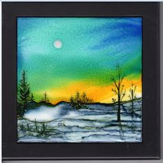 Hand-painted alcohol ink 6x6 ceramic tile. Black wooden frame. Winter landscape. The tile comes with a black wooden frame and has a hole for