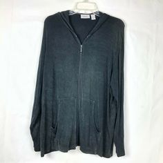 8abc737c062fd8 Chico's Travelers Women Siz 3 (XL) Black Slinky Zip Up Hooded Sweater  Jacket 74K