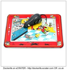 Mechnical Busy Mouse, TPS, Toplay Ltd., Japan (2 of 3). Vintage Tin Litho Plate Toy. Wind-Up / Clockwork Mechanism.