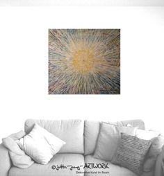 """""""Vergessen – Let go""""  Acrylgemälde, 65 x 75  cm,  feine Farbüberlagerungen mit Glasperlen und Kristallstein  Moderne Kunst. Raum- und Wanddekoration.  Original Kunst von jutta-jung-artwork persönlich. Handgefertigt und signiert.  FARBWELTEN UND STRUKTUREN SIND MEIN GROSSES THEMA  """"Sich selbst vergessen im Fluss der Farben, Hingabe an den Schaffensprozess.  Herausfordern des Zufalls und dann die Kontrolle der Nuancierung."""