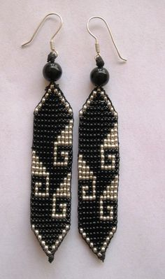 Black and Silver Beaded Greca Earrings by Pachamama Native Art, $22.00