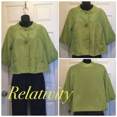 ❌Flash Sale❌ swing jacket-Shinny Green NWT 51% Acetate 49% cotton- lining is 100% acetate. Shimmery green with oversized buttons. Foe pockets on front. Stunning. Satin look- fantastic buy relativity Jackets & Coats