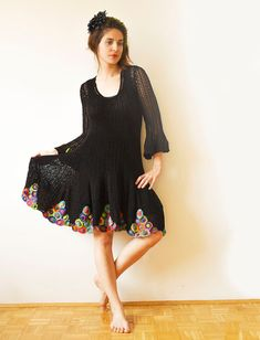 Black Crochet Summer Dress MADE TO ORDER by subrosa123 on Etsy