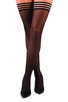 "A deliciously modern take on the traditional fishnet. The strong but gentle silicone-grip band keeps them in place so they don't slip or dig in. Plus they are built to last! Size A fits: Height -  4'11"" to 5'5"" Weight (lbs.) 90-140     Thigh Circumference - up to 20""  Size B fits: Height -  5'5"" to 6'0""   Weight (lbs.) 125-170   Thigh Circumference - up to 25""  Size C fits: Height -  4'11"" to 5'5"" Weight (lbs.) 140-240 Thigh Circumference - up to 30""  Size D fits: Height -  5'5"" to 6'0""…"