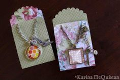 Candid Captures Base & Bling Buffet party. At this workshop we made these cute Base & Bling necklaces and these carrying envelopes made from Ariana paper and the Artiste Cricut cartridge. #CTMH