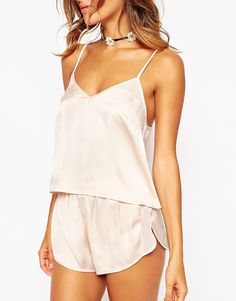 Image 3 of ASOS Satin Cami & Short Pyjama Set