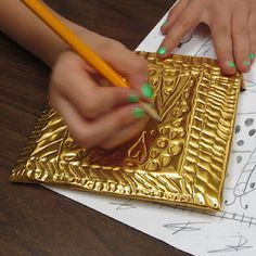 art  take foil and wrap it around a piece of cardboard and have them write letters or shapes or anything like that into the foil