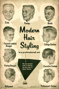 about 1957 Barbershop Modern 9 Haircut Photo Chart Sign Ads Vintage Barber poster- showing the clean-cut styles of the Modern may refer to: 1950s Mens Hairstyles, Mid Hairstyles, Vintage Hairstyles, Japanese Hairstyles, Wedding Hairstyles, Classic Hairstyles, Undercut Hairstyles, Vintage Advertisements, Vintage Ads