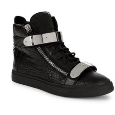 Giuseppe Zanotti Embossed Leather High-Top Sneakers ($480) ❤ liked on Polyvore featuring men's fashion, men's shoes, men's sneakers, mens shoes, mens leather high tops, mens black hi top sneakers, mens velcro shoes and mens leather shoes