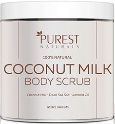 Purest Naturals Coconut Milk Body Scrub Polish Best 100 Natural Exfoliator Moisturizer For Cellulite Stretch Marks Eczema Acne Varicose Veins Dead Sea Salt Almond Oil Vitamin E >>> For more information, visit image link. What Is Cellulite, Cellulite Scrub, Cellulite Remedies, Cellulite Cream, Coconut Body Scrubs, Coconut Scrub, Coconut Milk, Best Body Scrub, Body Scrub Recipe