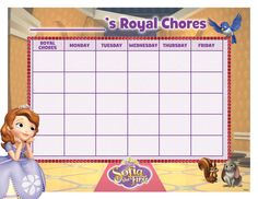 Here's a chore chart for your little one with some help from #SofiaTheFirst!