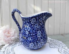 The Pink Rose Cottage - Vintage Blue and White Crownford Calico Pitcher
