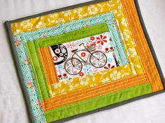 mug rug - some fussy cutting in the middle