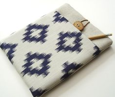Macbook Air 11 Case in Cream and Navy Ikat Cotton by Covercraft. $34.50, via Etsy.