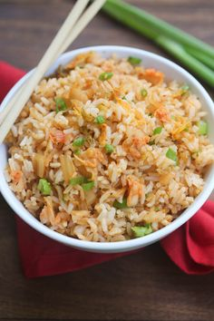 """Kimchi Fried Rice is full of fresh and bold flavor. My favorite type of fried rice that takes just 5 minutes to make!   Tastes Better From Scratch The first time I had Kimchi Fried Rice was at a local Korean taco restaurantcalled """"Seoul Taco"""", and I instantly fell in love. (If you live in...Read More »"""