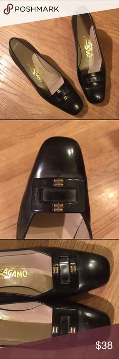 Vintage Salvatore Ferragamo Heels in Black This is a pair of vintage Salvatore Ferragamo heels in black. These have little buckles on them! They've definitely had some love (e.g., they're not in perfect condition). The good thing is that the heels are not too worn, and the leather is in pretty good condition (there's an odd spot that you can see in one of the above pictures - it feels like it can be removed, but don't quote me on that). Give them a good polish/dust-off and I think they'll…