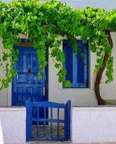 blue and green. Greek Island home