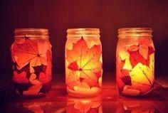 Modge Podge + leaves + Mason jar + tea light = Pure Happiness