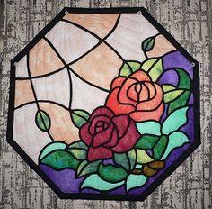 ステンドグラスキルト 薔薇