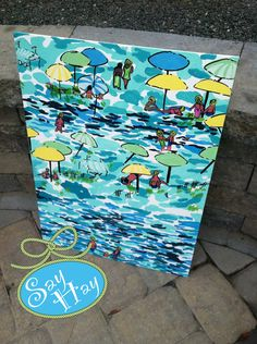 """18x24"""" Lilly Pulitzer Inspired Painting (quote or monogram available). $85.00, via Etsy."""