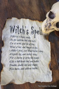 """How to Make Paper Look Ancient/Burned    """"Macbeth Halloween Decor"""" [The Country Chic Cottage.net]"""