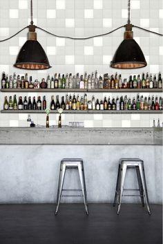 Concrete bar, industrial pendants and stools from Tolix. Restaurant and Bar Nazdrowje - Designed by Studio Richard Lindvall Design Café, Bar Interior Design, Beton Design, Design Ideas, Loft Design, House Design, Restaurant Bar, Restaurant Design, Industrial Restaurant