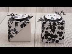 Tutorial: Selbstschliessende Box mit Blütenverschluss (Stampin' Up! Party Box, Diy And Crafts, Paper Crafts, Origami Box, Box Packaging, Stamping Up, Box Design, Paper Goods, Decoration