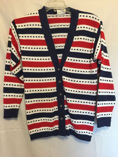 Sweetree Red White Blue Sweater V Neck Gold Button Front Long Sleeves Striped S  #Sweetree #Cardigan #Work