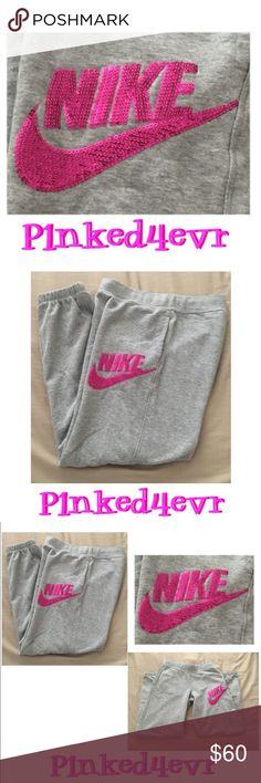 Nike Gray Sweats Hot Pink Sequin Swoosh XS Nike Gray Sweats Hot Pink Sequin Swoosh XS. These are actually tagged an XL in kids, but I normally wear an XS in most bottoms and these fit great!! Light gray sweats with elastic banded bottoms, side pockets, and a hot pink bling sequin Nike Swoosh! In excellent condition, with no rips, stains, or tears. Not 100% sure I want to part with them, but I really don't wear them. ❌SELECTIVE TRADES❌ Nike Pants Track Pants & Joggers