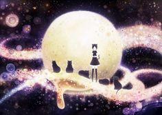 Neko Girl and Cats - Other Wallpaper ID 1527708 - Desktop Nexus Anime Japanese Illustration, Anime Cat, Tumblr, Cat People, Cat Wallpaper, Stargazing, Love Art, Neko, Concept Art