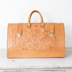 Extra Large Tooled Leather Bag Travel Vintage by salvagelife, $225.00