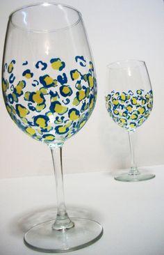 Cheetah Print White Wine Glasses Set by TwentyThreeSplit on Etsy, $18.00