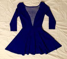 f8c5eca8d5 Deep V Neck Plunge With Mesh Blue Skater Dress XS 3 4 Sleeve  fashion