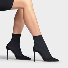 HOT STUFF 105 BOOTS IN BLACK SUEDE LEATHER AND MESH | #boots #highheels #highheelboots Suede Leather, Black Suede, High Heel Boots, High Heels, Prom Heels, Aquazzura, Ankle Strap, Stiletto Heels, Going Out