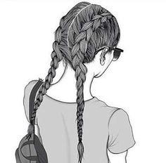 New beautiful art drawings sketches pens ideas Tumblr Girl Drawing, Tumblr Drawings, Girl Drawing Sketches, Cute Girl Drawing, Girly Drawings, Tumblr Art, Outline Drawings, Girl Sketch, Tumblr Girls