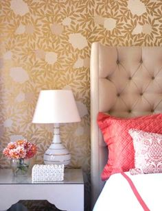 Something about this is fun but way, way, way too precious for a bedroom. coral beige gold gray bedroom