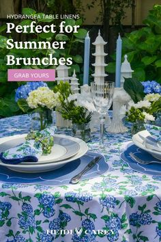 Elevate any table with my scalloped napkins. The hydrangea pattern is a custom block print elegantly accented by navy scalloping. This set makes a wonderful gift for any occasion. Summer Flowers, Blue Flowers, Table Setting Inspiration, Blue Hydrangea, Bed Styling, Napkins Set, Inspirational Gifts, Wood Blocks, Table Linens